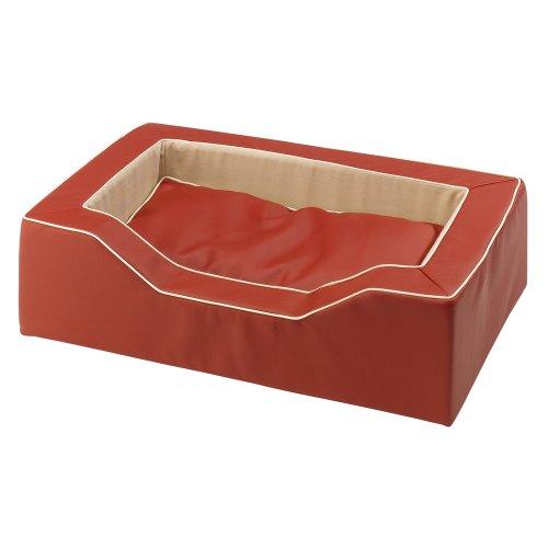 Ferplast 81024022 Majestic 95 Hundebett aus Lederimitat mit Synthetikmaterial, 93 x 65 x H 24 cm, rot