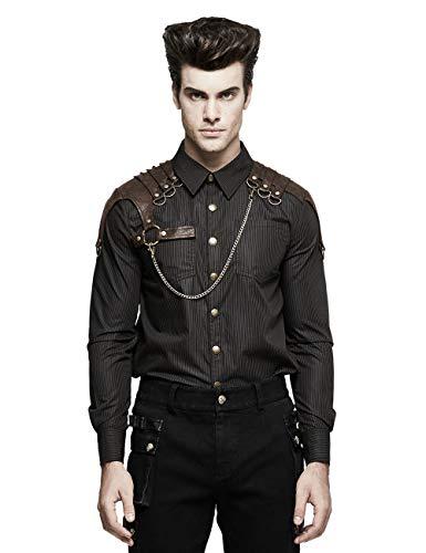 Punk Rave Herrenhemd Top Steampunk Striped Shirt Langarm Casual Shirts Bluse Kaffee XL