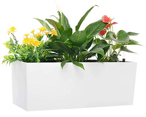 Rectangle Self Watering Planter Pots 7.5''x 20 Inch with 10 Quarts Coco Soil Indoor Outdoor Home Garden Modern Decorative Planter Pot for All House Plants Flowers Herbs (1, White(7.5''x20''))