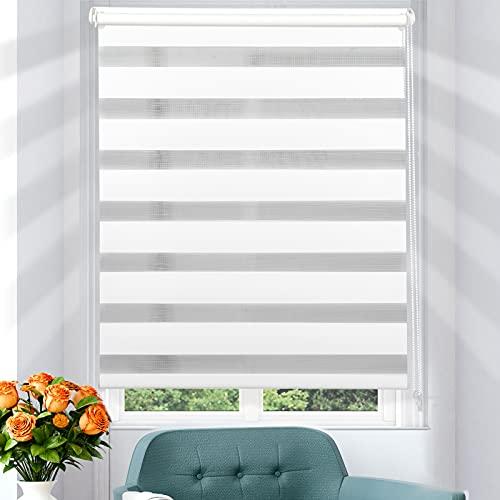i@HOME Doppelrollo klemmfix ohne Bohren Rollos für Fenster & Türen Duo Rollo ohne Bohren mit Klämmträgern Thermorollo Fensterrollo Seitenzugrollo für Sichtschutz & Sonnenschutz (Weiß, 75 x 130 cm)