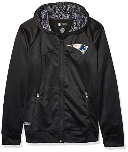 NFL New England Patriots Men's Full Zip Hoodie, Black, Large