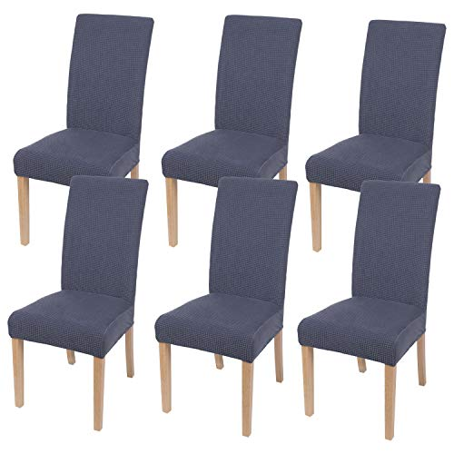 Homaxy Stretch Stuhlhussen Hussen für Stühle Stuhlbezug Waschbar Elastische Moderne Stuhl Esszimmer überzug - Dunkelgrau, 6er Set