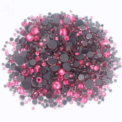 Astonish 2500pcs Mix Größe Strass Shiny Crystals Strass Fest Kleber Zurück Glaskristall-Fabric Crafts Hotfix Strasssteine ??für Kleidung: Rose, 1000PCS