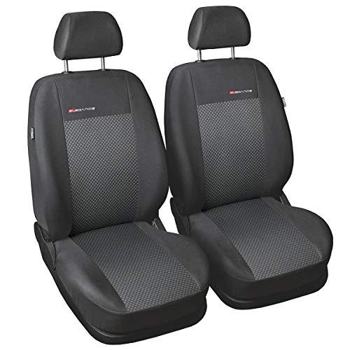 Preisvergleich Produktbild Carpendo Sitzbezüge Auto Vordersitze Autositzbezüge Schonbezüge Vorne Dunkelgrau-Grau Seitenairbag geeignet - Elegance P3