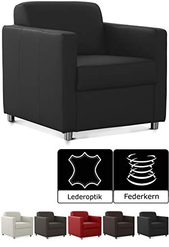 Cavadore Corianne Sessel, mit Federkern, Polstersessel in Lederoptik Design, 78 x 80 x 83, Kunstleder: schwarz