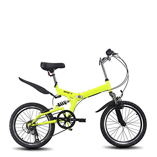 OFAY 20-Inch Folding Bike High Carbon Steel Frame Shock-Absorbing Off-Road Anti-Tire Mountain Bike Male and Female Adult Lady Bike,Yellow