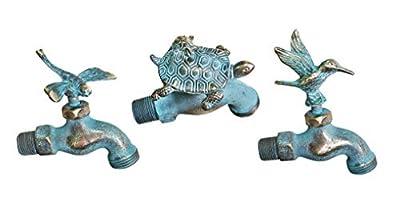 Decorative Brass Hummingbird, Turtle, Dragonfly Garden Outdoor Faucet (Set of 3 Pcs)