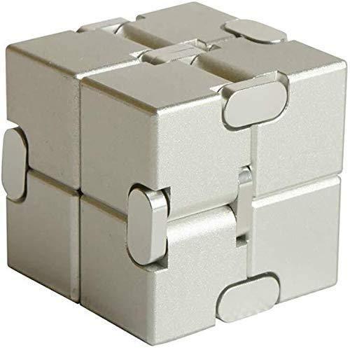 ZHUYU Aleación de Aluminio Infinito Infinito Cubo Cubo Cubo Mágico Dedo Juguete Estrés Ansiedad Alivio/ADHD niños descompresión Artefacto Creativo (Color: Blanco)