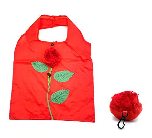 ほうねん堂 エコバッグ 折りたたみ 収納 花モチーフ 携帯 買い物袋 38×58�p (レッド)