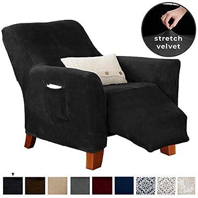 Great Bay Home Velvet Plush Stretch Recliner Slipcover. Velvet Recliner Furniture Protector, Soft Anti-Slip, High Stretch