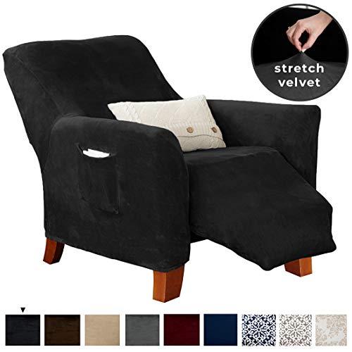 Great Bay Home Velvet Plush Stretch Recliner Slipcover. Velvet Recliner Furniture Protector, Soft...