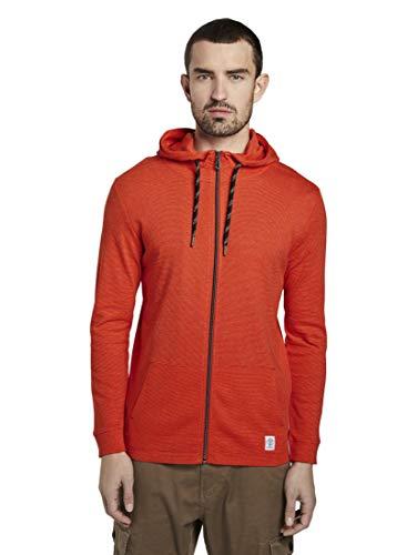 TOM TAILOR Herren T-Shirts/Tops Dünne Jacke mit Kapuze red mocktwist,XL