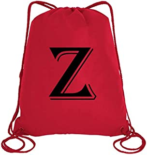 IMPRESS Drawstring Sports Backpack Red with Algerian Letter Z