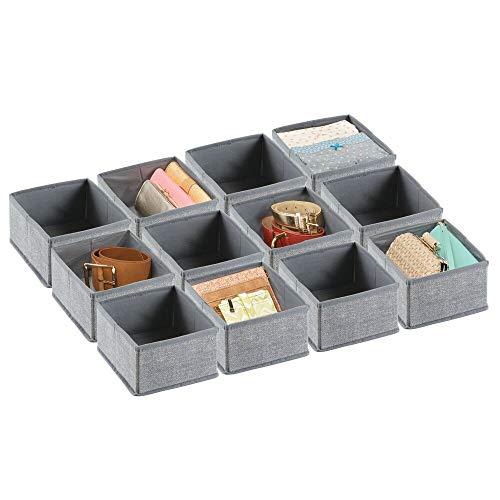 mDesign 12er-Set Stoffbox für Schrank oder Schublade – die ideale Aufbewahrungsbox aus Polypropylen (klein) – flexibel verwendbare Stoffkiste – grau