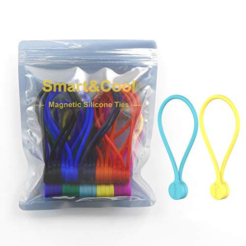 SMART&COOL 7.16'' | 20 Pack Reusable Silicone Strong Magnetic Cable Ties/Magnetic Twist Ties for Bundling and Organizing, Holding Stuff, Book Markers, Fridge Magnets, or Just for Fun, 10 Colors