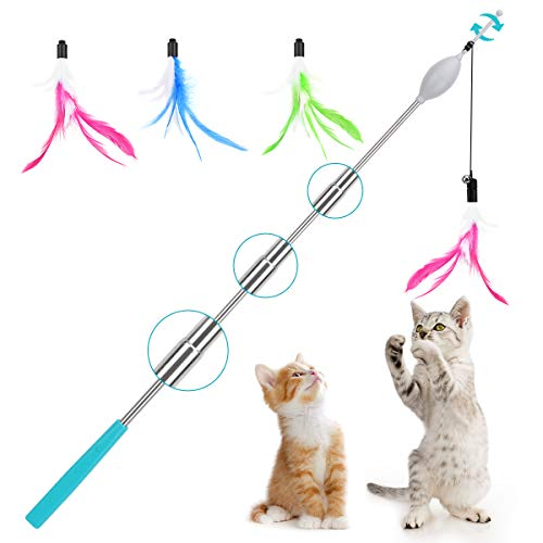 Lewondr Electric Cat Feather Wand 4 Section Telescopic Interactive Cat Toys Cat Stick Teaser with Bell & 3pcs Feather Flexible Cat Fishing Pole Toy Exerciser for Cat & Kitten - Blue + Green + Magenta