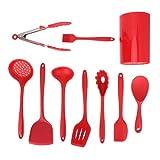 Utensilios de cocina, juego de cocina, juego de espátula de cocina resistente a altas temperaturas, 9 piezas/juego, antideslizante rojo para cocina familiar