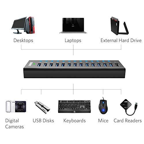 Anker AH241 USB 3.0 Aluminum 13-Port Hub + 5V 2.1A Smart Charging Port with 12V 5A Power Adapter