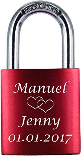 LoveGoals Liebesschloss mit Gravur und 2 Schlüsseln, Individuelle Gravur, Ideales Geschenk mit hochwertiger Geschenkverpackung, Eloxiert, Motiv M005, Rot