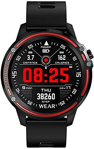 Reloj inteligente, ip68 resistente al agua, reloj deportivo inteligente, pantalla redonda táctil completa, paso de sueño multifuncional, rastreador de fitness-negro