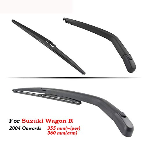 Preisvergleich Produktbild SLONGK Auto Heckscheibenwischerarm Bürsten,  Für Suzuki Wagon R 2004 Ab Schrägheck 355 Mm Heckscheibe Auto Styling