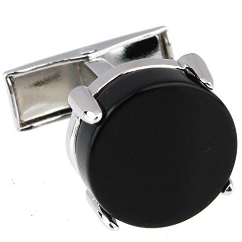 AMDXD Bijoux Chemise pour homme Boutons de manchette ronds Onyx Noir Argent Hauteur 2.6 cm Diamètre 1.1 cm