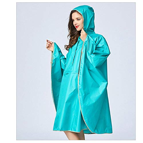 MULMF Adult Regenjas Polyester Zwart Vrouwen Regen Cape Poncho Mannen Regenjas Hoodie Met Pocket Lake Blue Kleuren