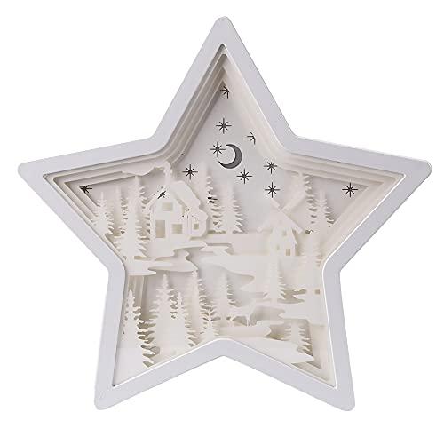Anti Scratch Estrella de cinco puntas 3D luz sombra papel talla lámpara USB hueco noche luz