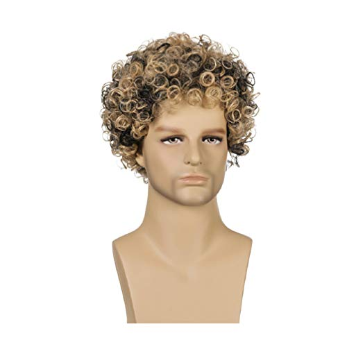 Minkissy Man Wig Lifelike Short Curly Hairpiece Fake Hair Cover for Man Boy Costumes Mens Disco (Black Brown)
