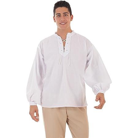Creaciones Llopis Camisa Medieval Blanca para Hombre: Amazon ...