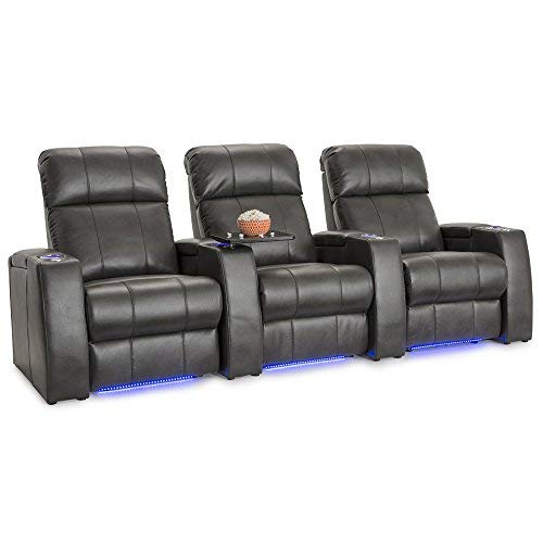 Seatcraft Sonoma Home Theater Seating Power Recline Leather Gel with Adjustable Powered Headrests (Grey, Row of 3)