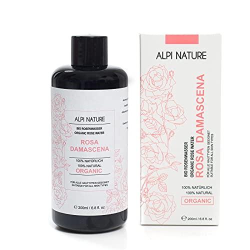 Agua de rosas orgánica (200 ml), tónico facial Rosa Damascena, 100% pura y natural de destilación directa de agua, agua floral en botella de vidrio azul oscuro