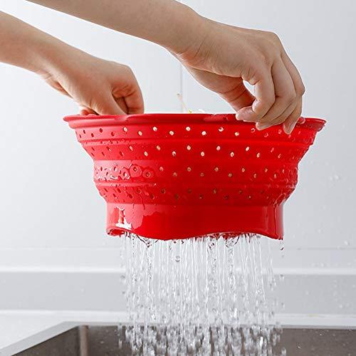 KANKOO Colador Fregadero De Cocina Set Utensilios De Cocina Fregadero colador Cesta Plegable tazón Plegable de la Cuenca Plegable colador Pequeño colador