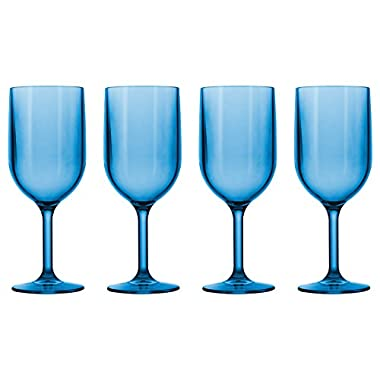 Drinique Wine Glass 12 Ounce | Set of 4 Blue | Unbreakable BPA-Free Premium Tritan Plastic Dishwasher Safe Stemware Made in USA