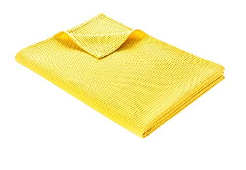 WOHNWOHL Tagesdecke 150 x 200 cm • Waffelpique leichte Sommerdecke aus 100prozent Baumwolle • Luftige Sofa-Decke vielseitig einsetzbar • Leicht zu pflegene Wohndecke • Baumwolldecke Farbe: Gelb