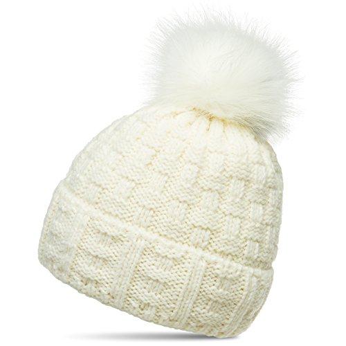 Caspar MU174 Damen Winter Mütze Strickmütze Bommelmütze mit großem Fellbommel, Größe:One Size, Farbe:Weiss (Off-White)