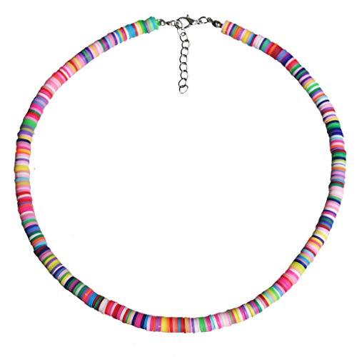 Sayletre Playa bohemia arcilla joyería con cuentas de colores del arco iris Boho Gargantilla Collar de la arcilla del polímero para muchachas de las mujeres ajustables