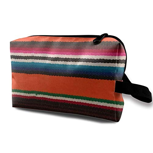Travel Makeup Storage Bag- Portable Toiletry Handbag Small Cosmetic Organizer Pouch for Women & Men- Beauiful Mexican Serape