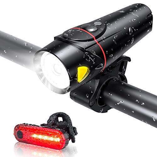 Bike Lights Set, Bicycle Lights USB Rechargeable 4 Light Mode Cycle Lights Waterproof Runtime 10+ hrs Super Bright 350LM LED Headlight and Rear Light, Fits All Road Bicycles Mountain Bike