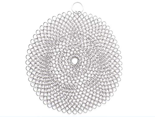 GUAIWEID Cast Iron Cleaner Chainmail Scrubber with Durable Stainless Steel Wall Hook, Round Mesh Scourer, Cookware Cleaner for Skillet, Wok, Pot, Pan, Does Not Rust,66inches