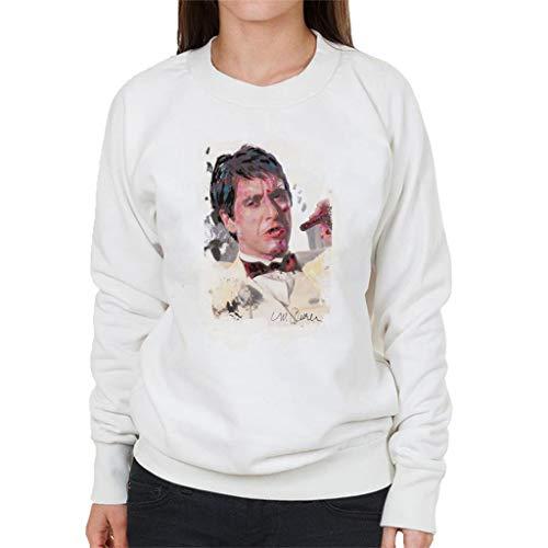 VINTRO Al Pacino Scarface Tuxedo Frauen-Sweatshirt Original Porträt von Sidney Maurer (Arktisches Weiß,XL)