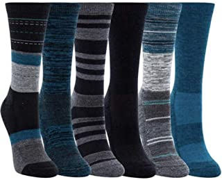 Ladies' Crew Trail Socks Extra-Fine Merino Wool, Teal, 6 Pairs