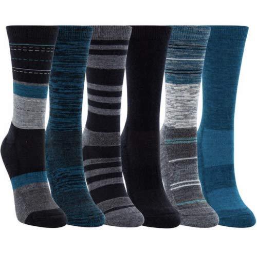 Kirkland Signature Ladies' Crew Trail Socks Extra-Fine Merino Wool, Teal, 6 Pairs