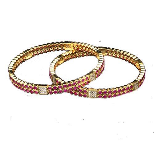 JewelryOnClick Bangles for Womens Indian Handamde White Cubic Zircon with Pink Ruby Manik 18K Gold Plated Chudi Kada American CZ Diamond Round Stone Fashion Jewelry VBL 6-4-Pink-2.12