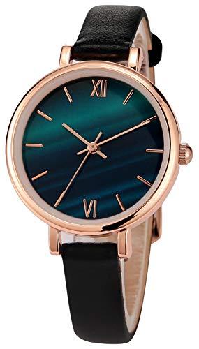 Damenuhren Damen Rose Schwarz Lederarmband Uhr Elegante analoge Quarzuhren für Damen