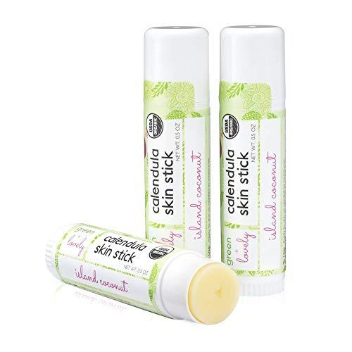 Calendula Skin Stick, Island Coconut. Moisture Stick. Organic Lotion Bar. Moisturizing Ointment Salve. Multipurpose Skin Cream - 0.5 oz. (2 tube set)