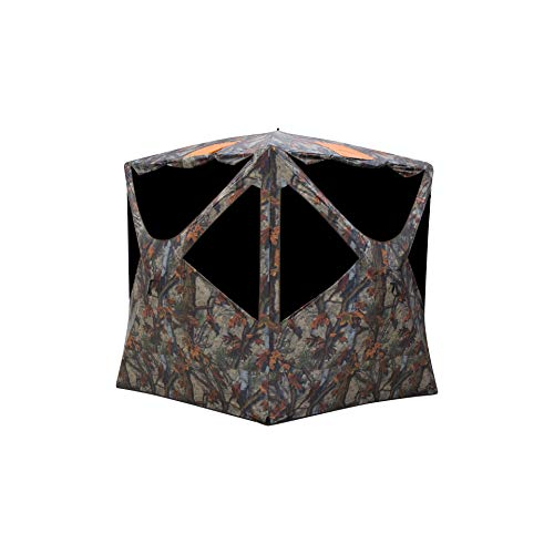 Barronett Blinds Tag Out Hub Hunting Blind, 3 Person Pop Up Ground Blind, Bloodtrail Woodland Camo and Blaze Orange Safety Panels, TA350BT, 90x90