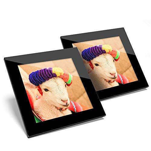 Impresionante juego de 2 posavasos de cristal – Cuzco Perú oveja Andes – Posavasos de calidad brillante para cualquier tipo de mesa #44750