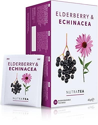 Nutra Tea - Elderberry & Echinacea Tea   Elderberry Tea - Immunity Tea   Immune Tea - 20 Tea Bags - Herbal Tea