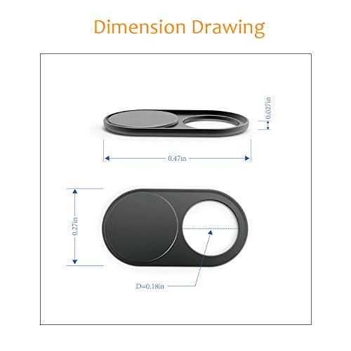 Cimkiz WB01 Webcam Cover Slider, 0.027in Ultra Thin Metal Magnet Web Camera Cover, for Laptops Macbook Pro PCs Tablets-for Protecting Your Privacy-2 packs(black)